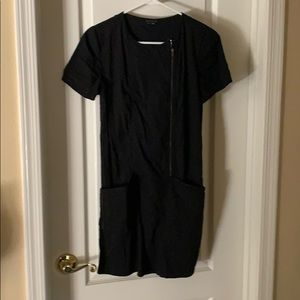 Theory size 4 black mini dress with pockets.